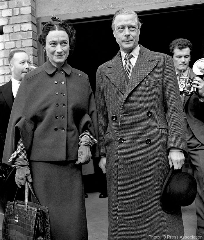 April 1949: The Duke and Duchess of Windsor at Victoria Station, London. The plot for the Duke to return as regent was on the verge of being set in motion due to King George VI's failing health.