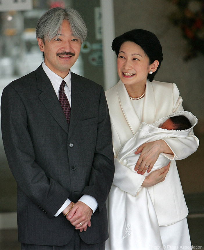 Prince Akishino and Princess Kiko present newborn son, Prince Hisahito, to the waiting media.