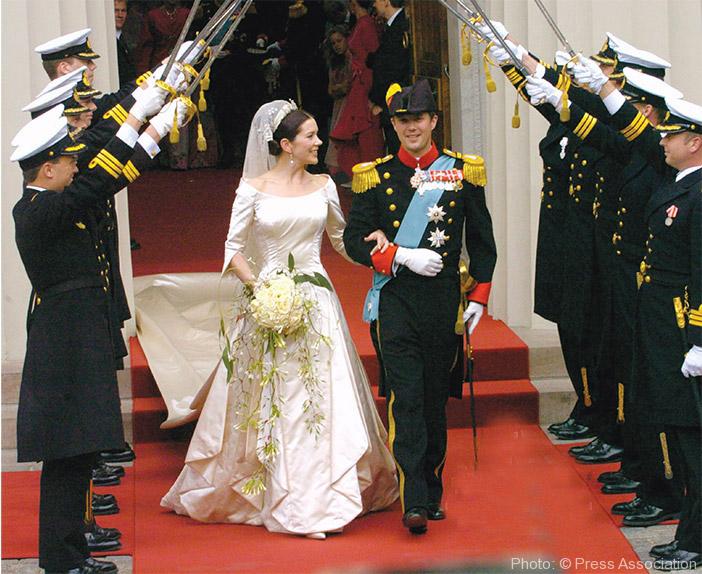 The newlyweds leaving Vor Frue Kirke Cathedral, Copenhagen.