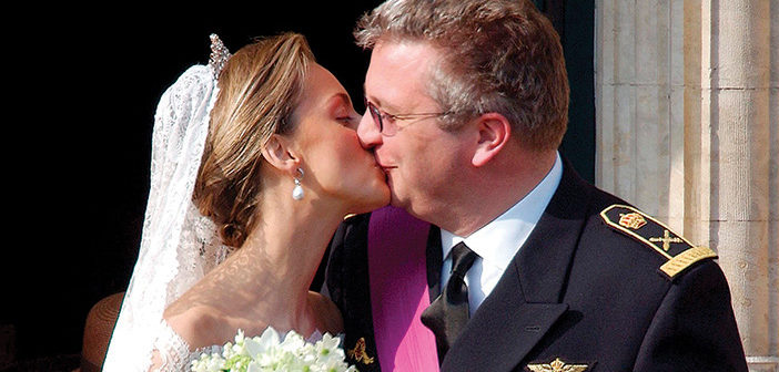 The wedding of Prince Laurent and Claire Coombs. (April 12, 2003).