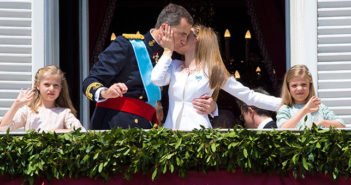 A kiss to remember as King Felipe and Queen Letizia give the day one of its most memorable images. Alongside Felipe and Letizia are their daughters Leonor, Princess of Asturias, and (right) Princess Sofia.