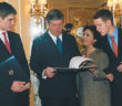 Crown Prince Alexander and family during the ceremony at Claridges Hotel, London, in which HRH's Yugoslav citizenship was restored.