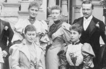 23 April 1894. The Newly engaged, 'Nicky' Tsarevich Nikolai Romanov and 'Alix' Princess Alexandra of Hesse (back row left), photographed in Darmstadt with Victoria, Princess Louis of Battenberg, Ernie,Grand Duke of Hesse,Irene (front row left), Ella, Victoria Melita ('Ducky', Ernie's first wife) and Grand Duke Serge.