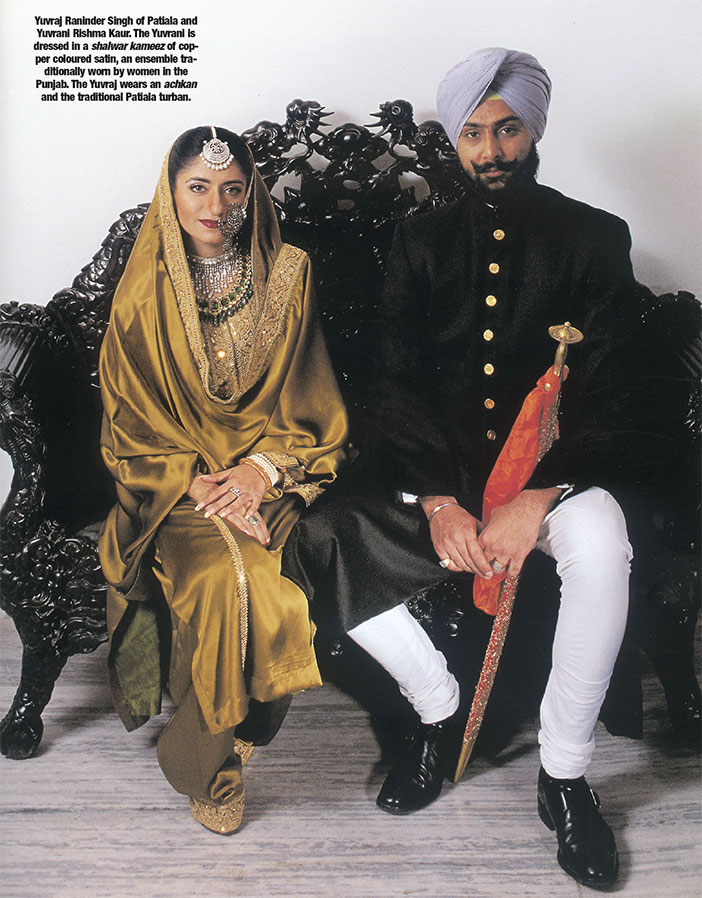 (Above) Yuvraj Raninder Singh of Patiala and,Yuvrani Rishma Kaur. The Yuvrani is dressed in a shalwar kameez of copper coloured satin, an ensemble traditionally worn by women in the Punjab. The Yuvraj wears an achkan and the traditional Patiala turban. (Top) Nawabzada Saif Ali Khan of Pataudi, son of the Nawab of Pataudi, with his wife, Begum Saif Ali Khan. The Nawabzada is wearing a contemporary 'achkan' and 'churidar paijama', while the Begum is dressed in a traditional three-piece ensemble, probably made in the early twentieth century.
