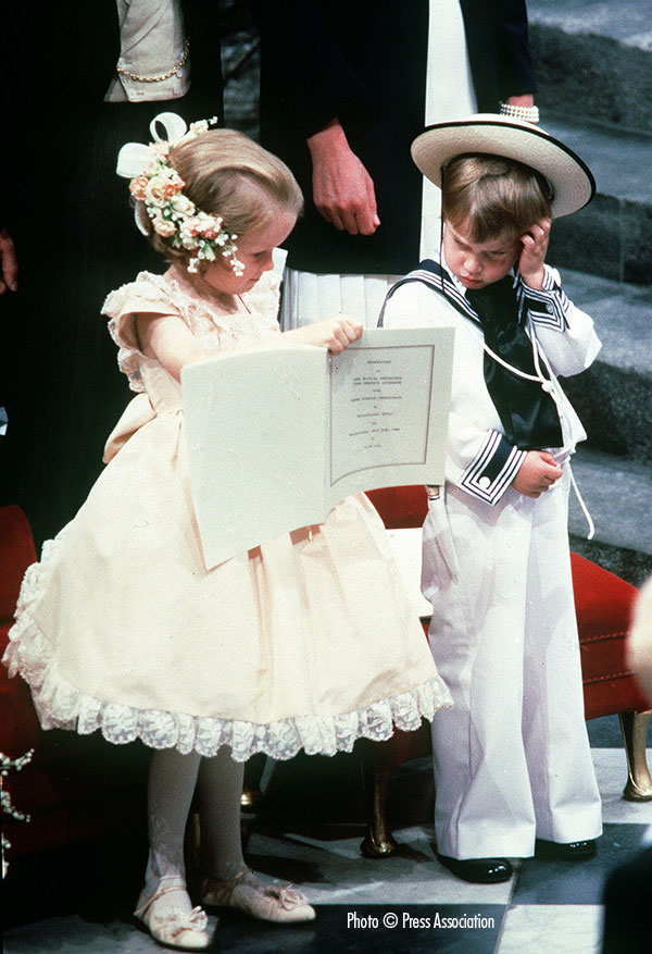 23 July 1986. Prince William with his cousin Laura Fellowes at the wedding of the Duke and Duchess of York. The Duke and Duchess of Cambridge have chosen Miss Fellowes as one of five godparents for their daughter Princess Charlotte.