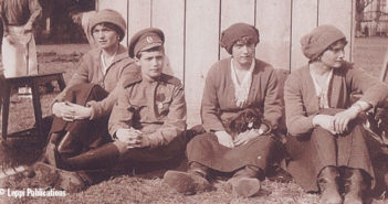The Romanovs during their imprisonment. (From left to right) Grand Duchess Olga, Tsarevich Alexei, Grand Duchess Anastasia and Grand Duchess Anastasia