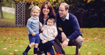 The Duke and Duchess of Cambridge with Prince George and Princess Charlotte. The photo was taken at Kensington Palace in late October.