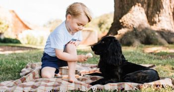 Prince George enjoyed having his third birthday photographs taken at Anmer Hall, Norfolk. (Above) Prince George with the family dog Lupo.