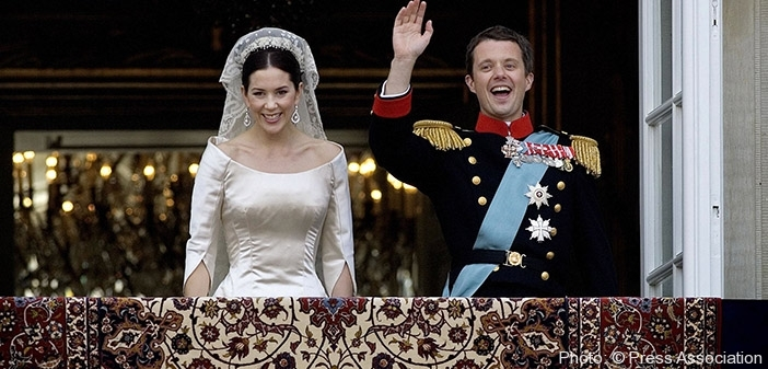The Crown Princess Mary And Prince Frederik Of Denmark On Balcony At Amalienborg Palace Being