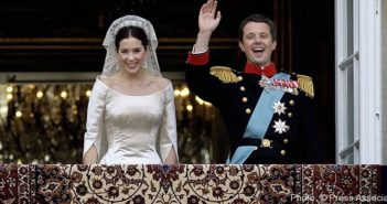 The Crown Princess Mary and Prince Frederik of Denmark on the balcony at Amalienborg Palace being cheered by the Danes.